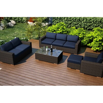Arden 5 Piece Lounge Seating Group with Cushion Fabric: Spectrum Indigo