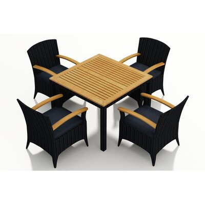 Garlyn 5 Piece Wicker Dining Set with Cushion Fabric: Spectrum Indigo