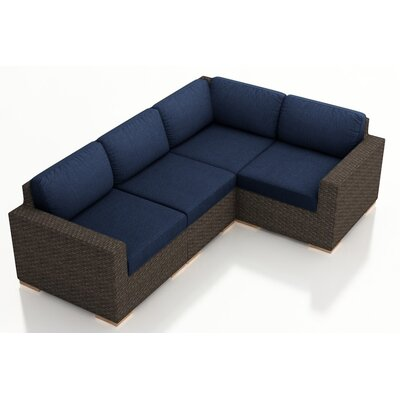 Arden 4 Piece Sectional with Cushions Fabric: Spectrum Indigo