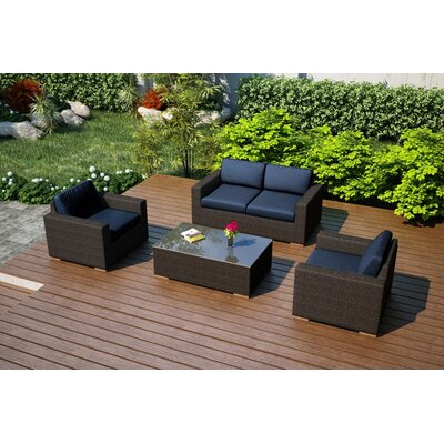 Arden 4 Piece Deep Seating Group with Cushion Fabric: Spectrum Indigo
