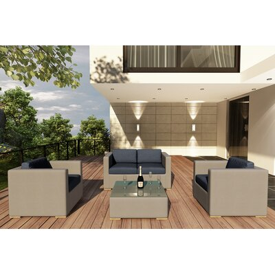 Element 4 Piece Deep Seating Group with Cushion Fabric: Spectrum Indigo