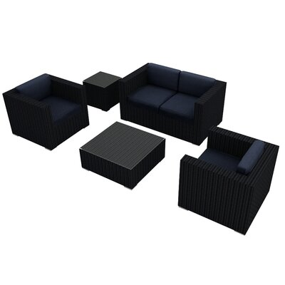 Eichhorn 4 Piece Wicker Deep Seating Group with Cushion Finish: Coffee Bean, Fabric: Spectrum Indigo