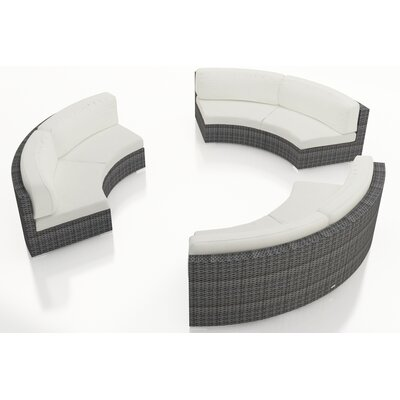 Gerron 3 Piece Curved Deep Seating Group with Cushions Fabric: Canvas Natural