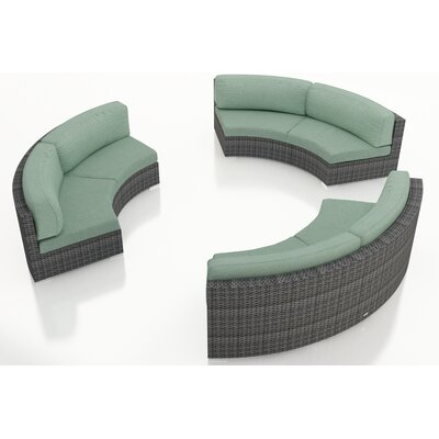Gerron 3 Piece Curved Deep Seating Group with Cushions Fabric: Canvas Spa