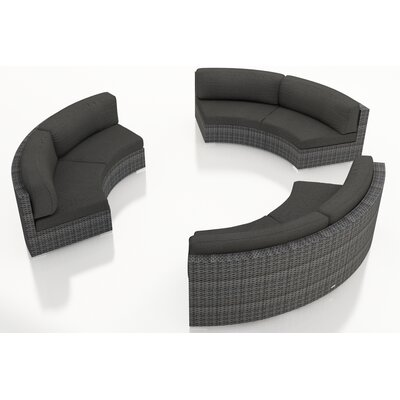 District 3 Piece Curved Deep Seating Group with Cushions Fabric: Canvas Charcoal