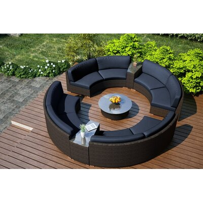 Arden 7 Piece Curved Deep Seating Group with Cushions Fabric: Spectrum Indigo