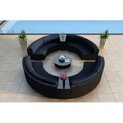 Urbana 7 Piece Curved Deep Seating Group with Cushions Fabric: Spectrum Indigo