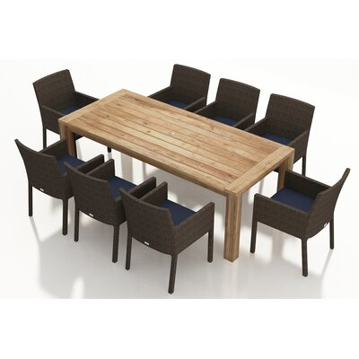 Arden 9 Piece Dining Set with Cushions Fabric: Spectrum Indigo