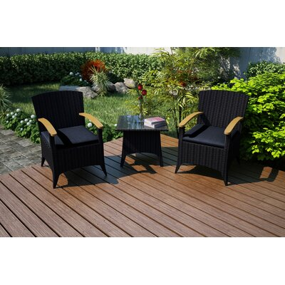 Arbor 3 Piece Chat Set with Cushions Fabric: Spectrum Indigo