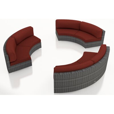 Gerron 3 Piece Curved Deep Seating Group with Cushions Fabric: Canvas Henna