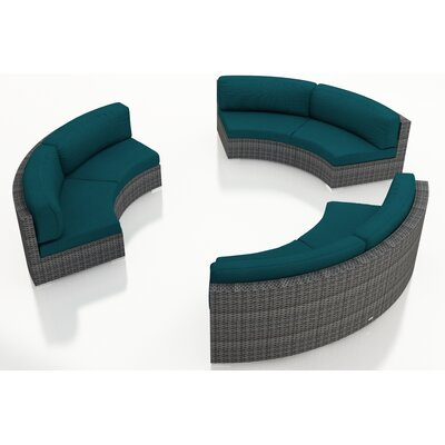 Gerron 3 Piece Curved Deep Seating Group with Cushions Fabric: Spectrum Peacock