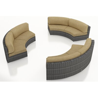 Gerron 3 Piece Curved Deep Seating Group with Cushions Fabric: Heather Beige