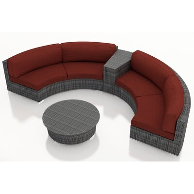 Gerron 4 Piece Curved Deep Seating Group with Cushions Fabric: Canvas Henna