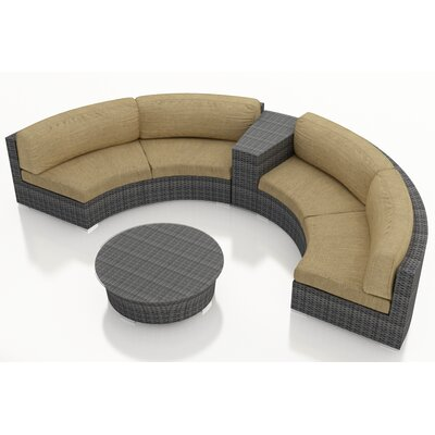 Gerron 4 Piece Curved Deep Seating Group with Cushions Fabric: Heather Beige