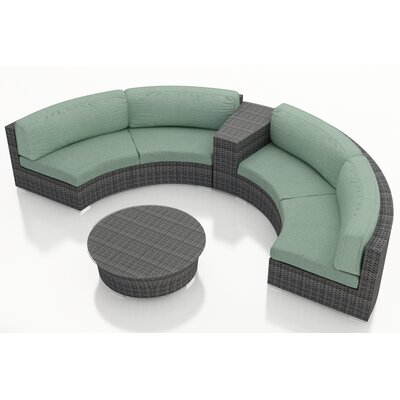 Gerron 4 Piece Curved Deep Seating Group with Cushions Fabric: Canvas Spa