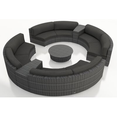 Gerron 7 Piece Curved Deep Seating Group with Cushions Fabric: Canvas Charcoal