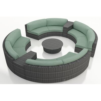 Gerron 7 Piece Curved Deep Seating Group with Cushions Fabric: Canvas Spa