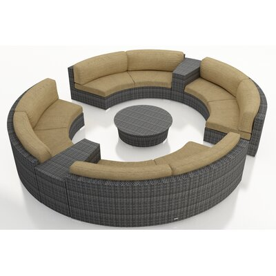 Gerron 7 Piece Curved Deep Seating Group with Cushions Fabric: Heather Beige