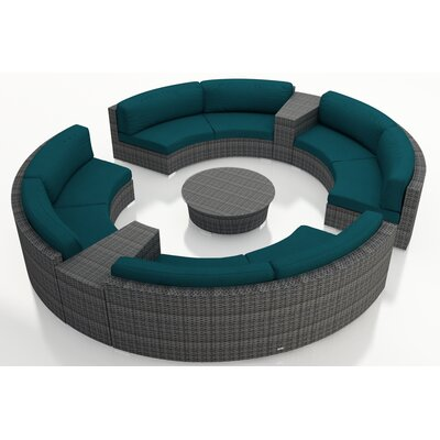 Gerron 7 Piece Curved Deep Seating Group with Cushions Fabric: Spectrum Peacock
