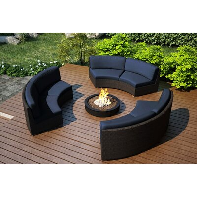 Arden 3 Piece Curved Deep Seating Group with Cushions Fabric: Spectrum Indigo