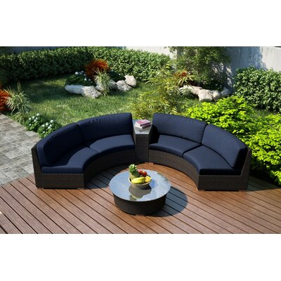 Arden 4 Piece Curved Seating Group with Cushions Fabric: Spectrum Indigo
