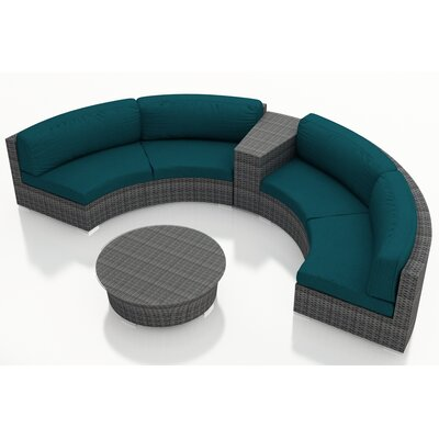Gerron 4 Piece Curved Deep Seating Group with Cushions Fabric: Spectrum Peacock