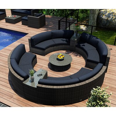Gerron 7 Piece Curved Deep Seating Group with Cushions Fabric: Spectrum Indigo