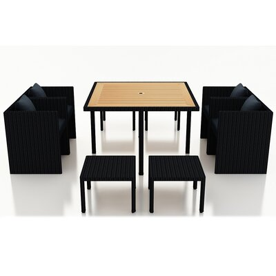 Arbor 9 Piece Cube Dining Set with Cushion Color: Spectrum Indigo