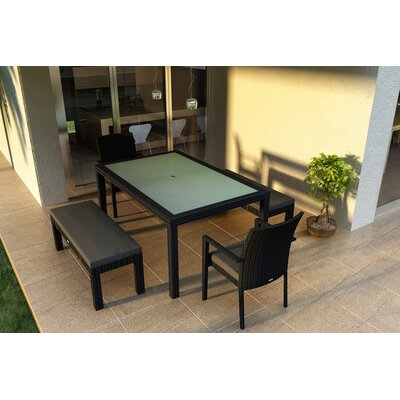 Eichhorn 5 Piece Wicker Dining Set with Cushions Color: Canvas Charcoal