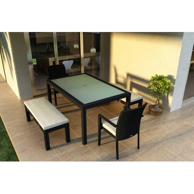 Eichhorn 5 Piece Wicker Dining Set with Cushions Color: Canvas Natural