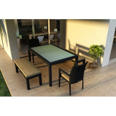 Eichhorn 5 Piece Wicker Dining Set with Cushions Color: Heather Beige
