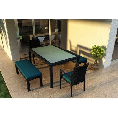 Eichhorn 5 Piece Wicker Dining Set with Cushions Color: Spectrum Peacock
