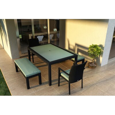 Eichhorn 5 Piece Wicker Dining Set with Cushions Color: Canvas Spa