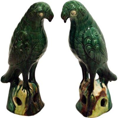 Sitting Parrot 2 Pieces Figurine Set