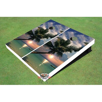 Single Palm Tree Cornhole Board