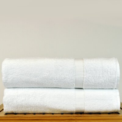 Luxury Hotel and Spa Turkish Cotton Dobby Border Bath Sheet Color: White