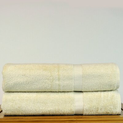 Luxury Hotel and Spa Turkish Cotton Dobby Border Bath Sheet Color: Beige