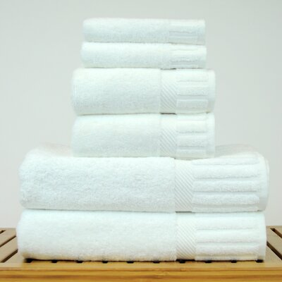 Luxury Hotel and Spa 100% Turkish Cotton 6 Piece Towel Set Color: White