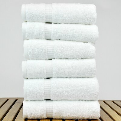 Turkish Cotton Dobby Border Hand Towel Color: White