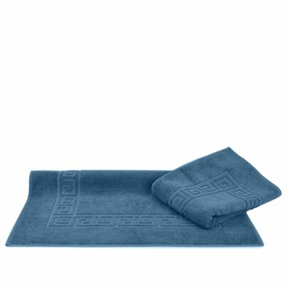 Greek Key Bath Rugs Color: Wedgewood