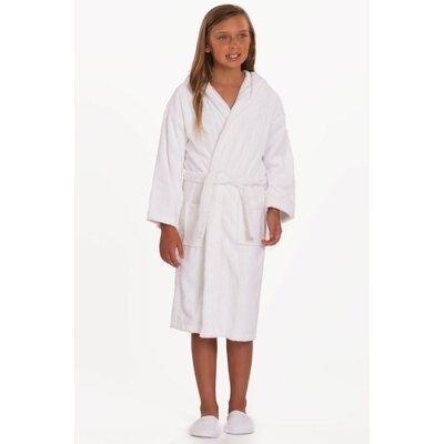 Roxanne Kids Hooded Terry Robe Size: Kids (Age 3-6) - Small Medium, Color: White