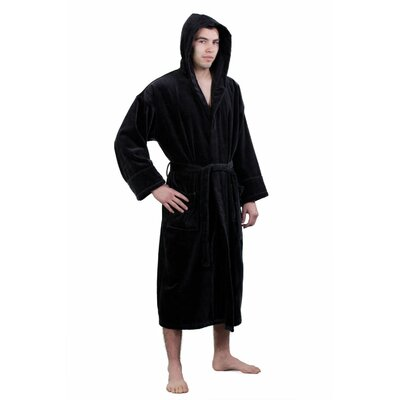 Hooded Terry Velour Robe Size: Adult - Small Medium, Color: Black