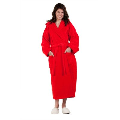Hooded Terry Velour Robe Size: Adult - One Size, Color: Red