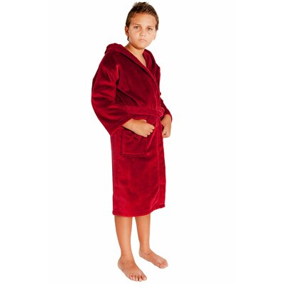 Kids Hooded Terry Velour Robe Size: Kids (Age 7-10) - Large, Color: Burgundy