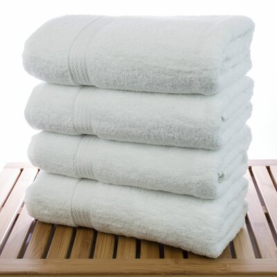 Bath Towel Color: White, Size: Bath Towels - Set of 4