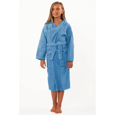Kids Hooded Terry Robe Size: Kids (Age 3-6) - Small Medium, Color: Light Blue