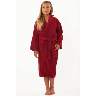 Roxanne Kids Hooded Terry Robe Size: Kids (Age 7-10) - Large, Color: Burgundy