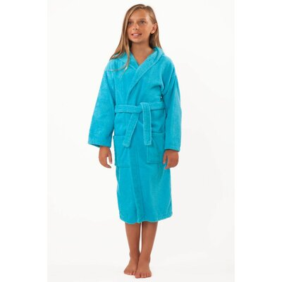 Roxanne Kids Hooded Terry Robe Color: Turquoise, Size: Kids (Age 3-6) - Small Medium