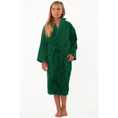 Roxanne Kids Hooded Terry Robe Size: Kids (Age 7-10) - Large, Color: Green