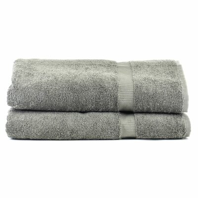 Luxury Hotel and Spa Turkish Cotton Dobby Border Bath Sheet Color: Gray